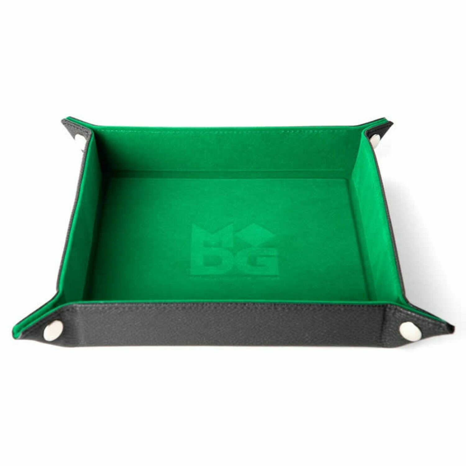 Green Velvet Dice Tray With Leather Backing RPG Tabletop Gaming