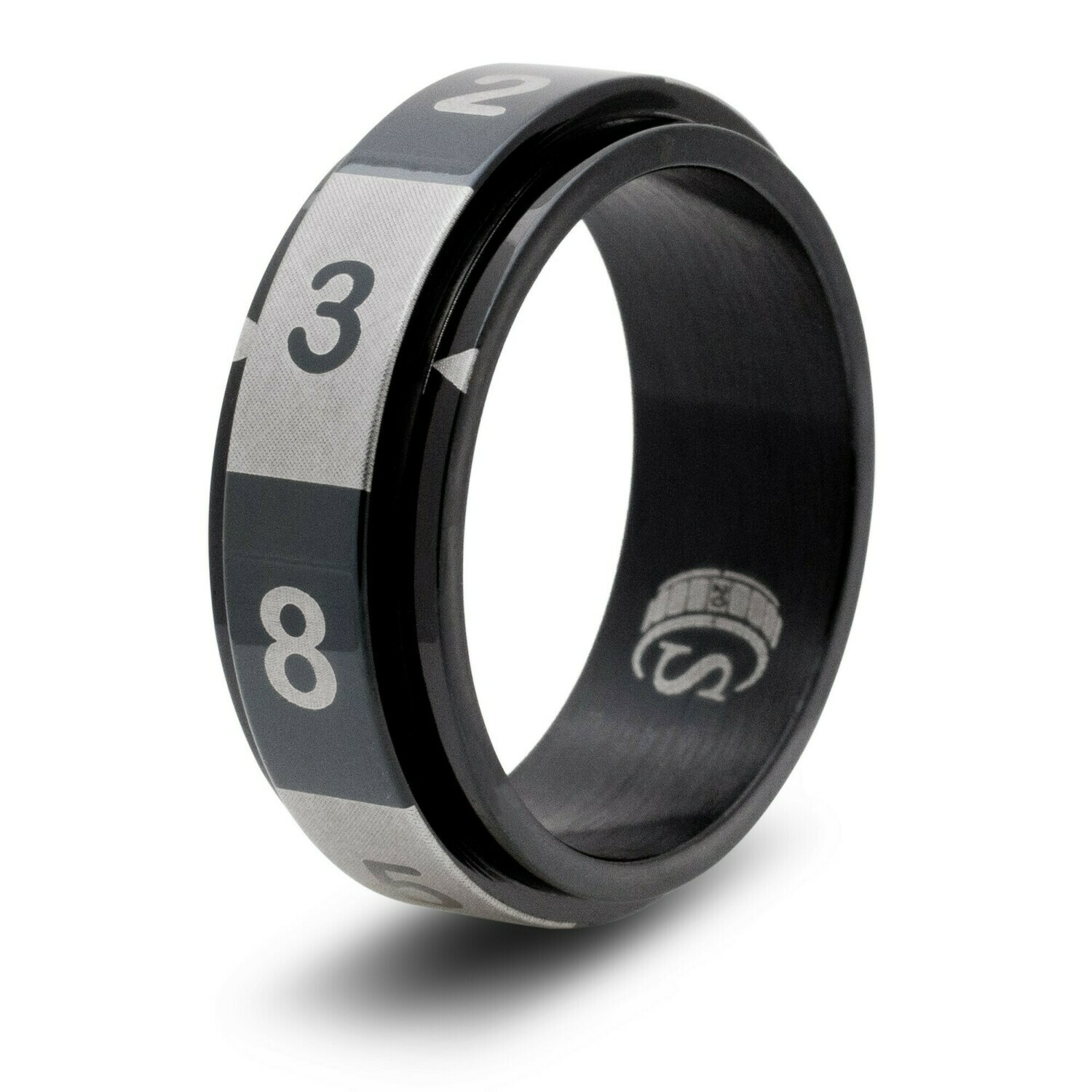 8-sided (D8) Dice Random Number Spinner Ring - Blue, Black, Gold, or Rainbow RPG Tabletop Gaming
