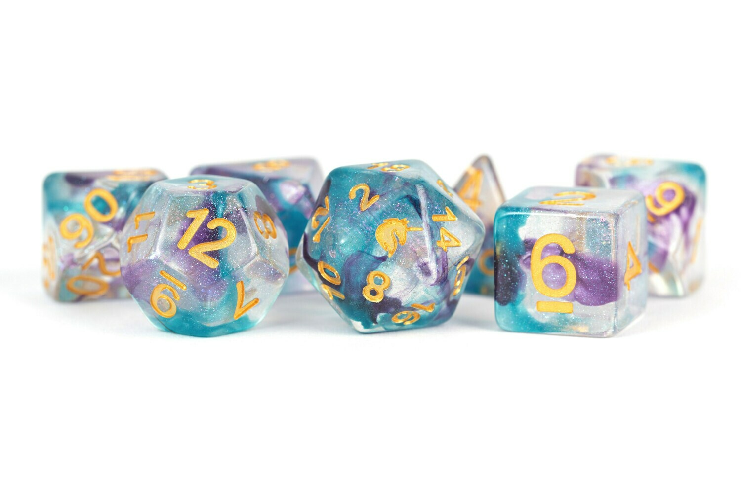 Unicorn Fancy Fae 6mm Poly Dice Set Tabletop RPG Gameing Roleplay