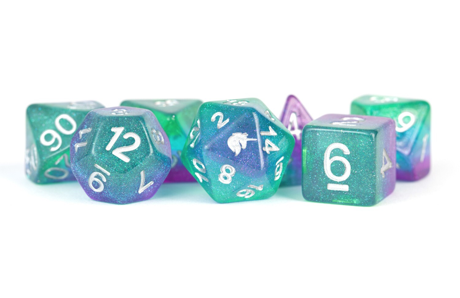 Unicorn Aurora Ice 16mm Poly Dice Set Tabletop RPG Gameing Roleplay