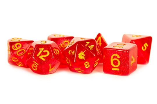 Unicorn Red 16mm Polyhedral 7 Dice Set Role RPG Games