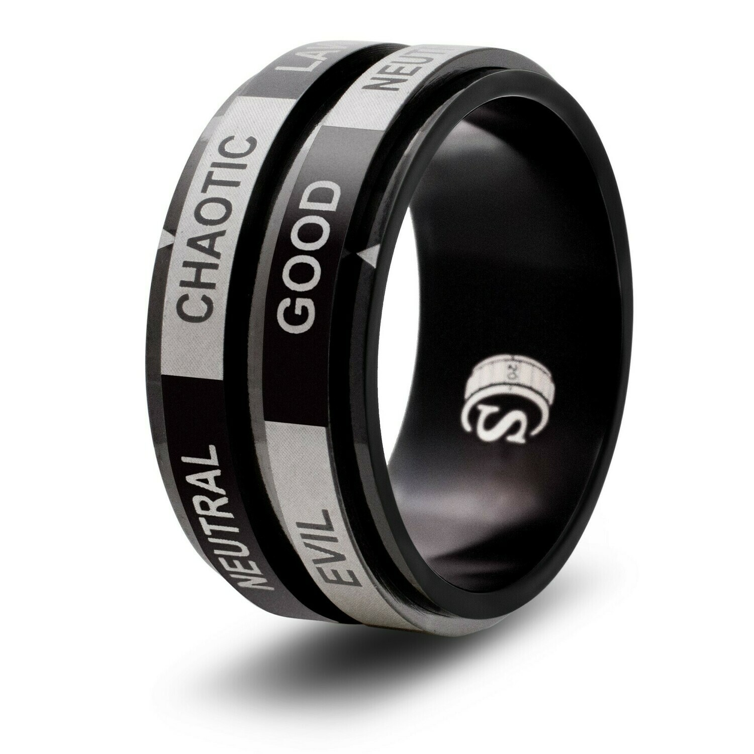 Alignment Dice Random Number Spinner Ring Black Tabletop RPG Gaming Roleplay Games