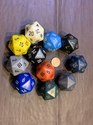 Jumbo 34mm SOLID D20 Die - Multiple Color Options - RPG Gaming Tabletop Dice CCG Games