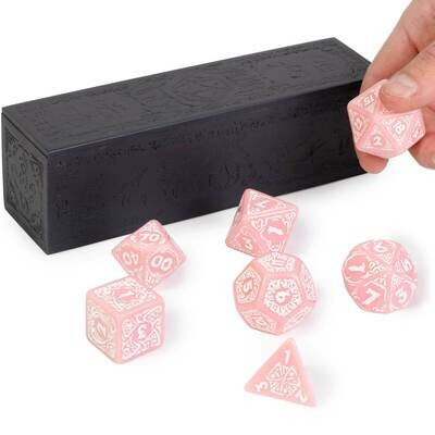 Titan Dice Calliope: Cherry Blossom with White Polyhedral Set with Box RPG Tabletop Gaming