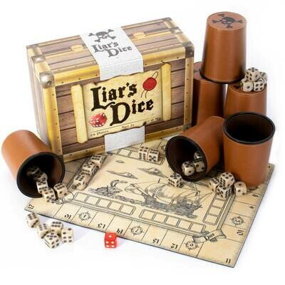 Liar's Dice Game of Dice and Deception Pirate Chest Cups Classic Tabletop Gaming
