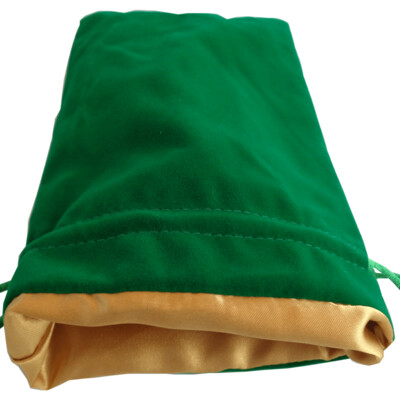 Velvet Dice Bag With Satin Liner 6″x8″ Green with Gold - Drawstring Pouch Jewelry