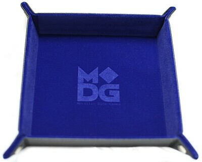 Blue Velvet Dice Tray With Leather Backing RPG Tabletop Gaming