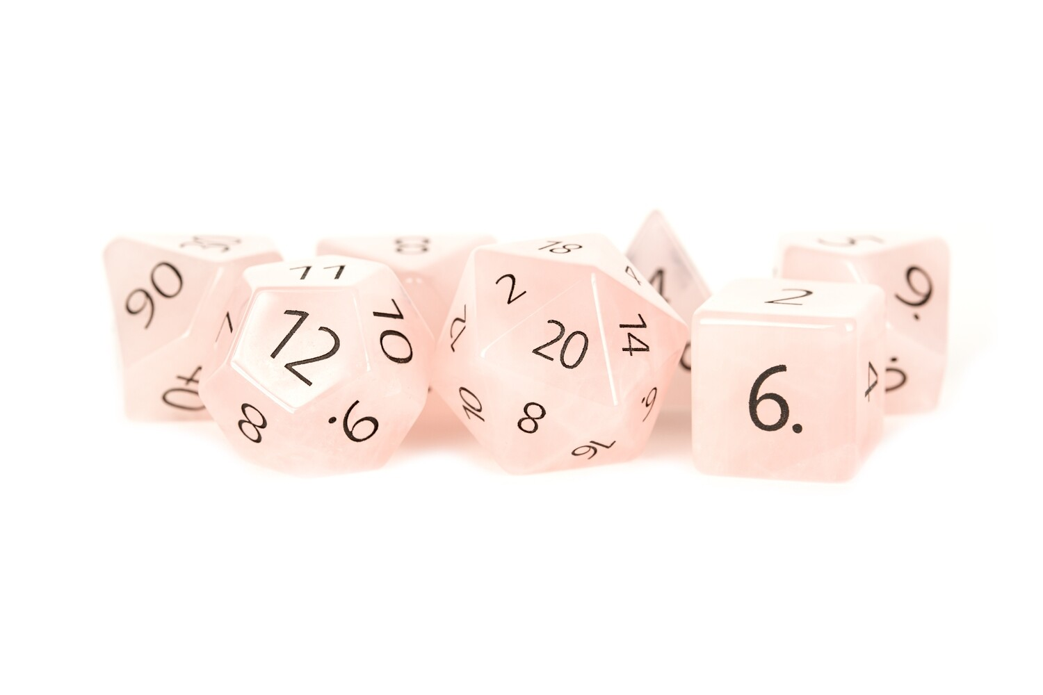 Engraved Rose Quartz: Full-Sized 16mm Polyhedral Dice Set RPG Tabletop CCG Games