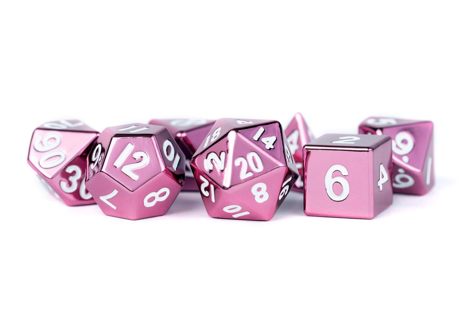 Metal Pink 16mm Polyhedral Dice Set (or Individually) Tabletop RPG Gaming