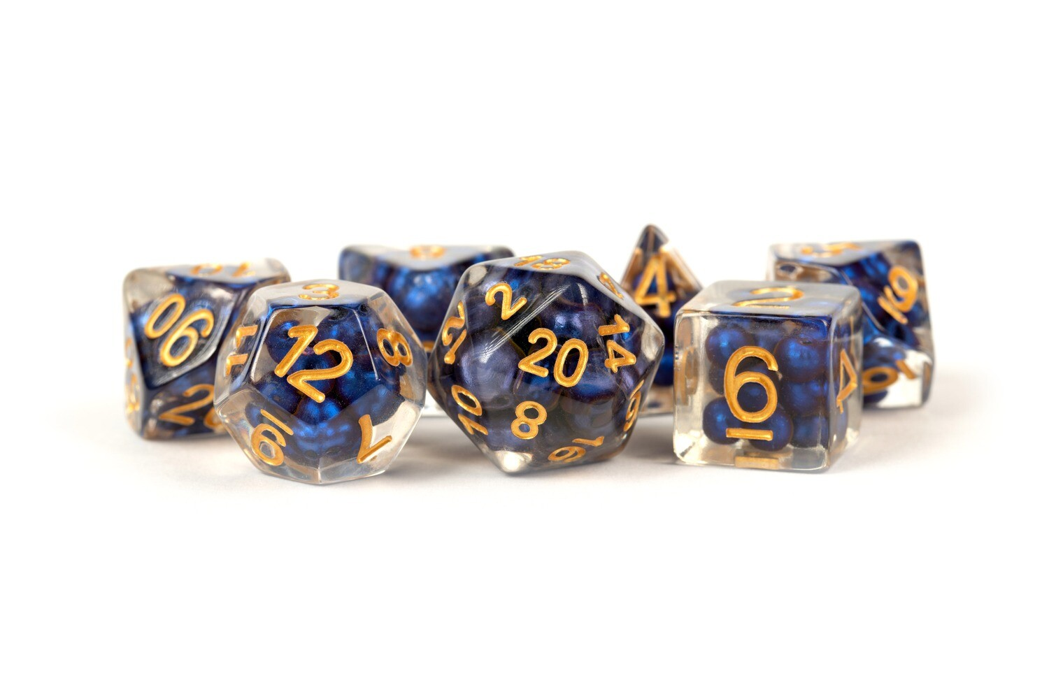 Pearl Dice Royal Blue w/ Gold Numbers 16mm Resin Poly Dice Set Tabletop RPG CCG