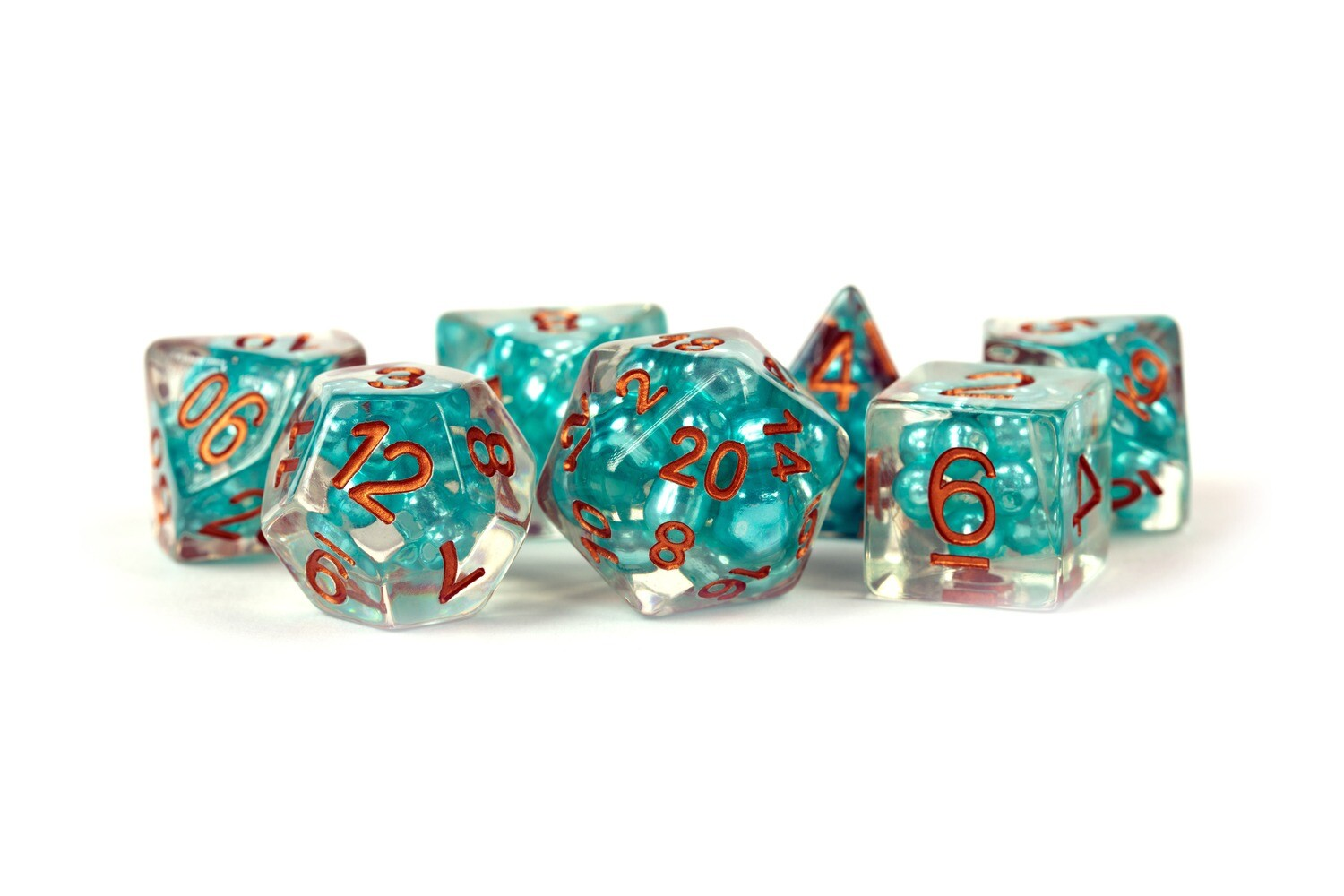 Pearl Dice Teal with Copper 16mm Resin Poly Dice Set Tabletop RPG CCG
