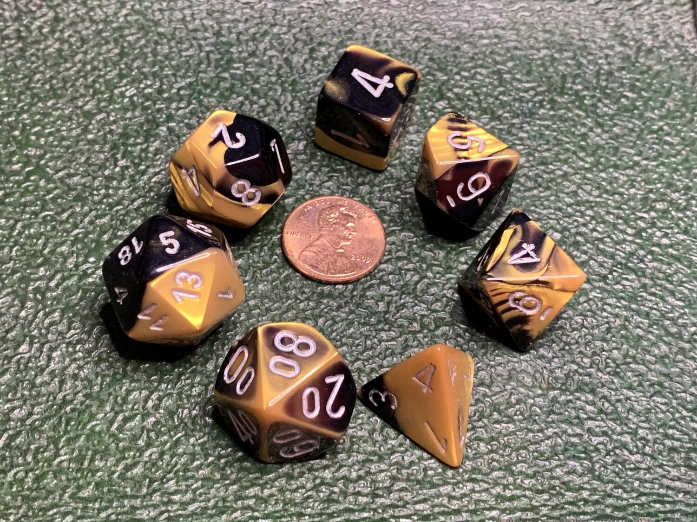 7 Die Dice Polyhedral Set - Gemini Black Gold Silver
