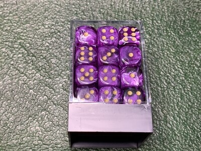 12mm Set of 36 D6 Dice - Chessex Vortex Purple with Gold RPG CCG Tabletop Gaming