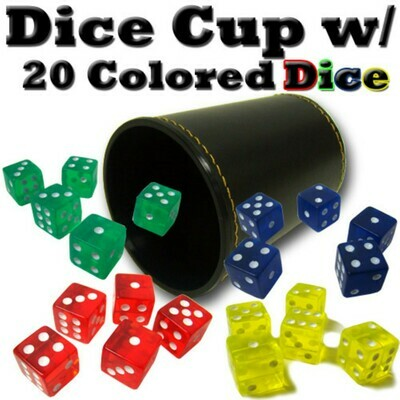 Synthetic Leather Dice Cup with 20 Colored Dice RPG Gaming Tabletop Cards Poker Black Jack Board