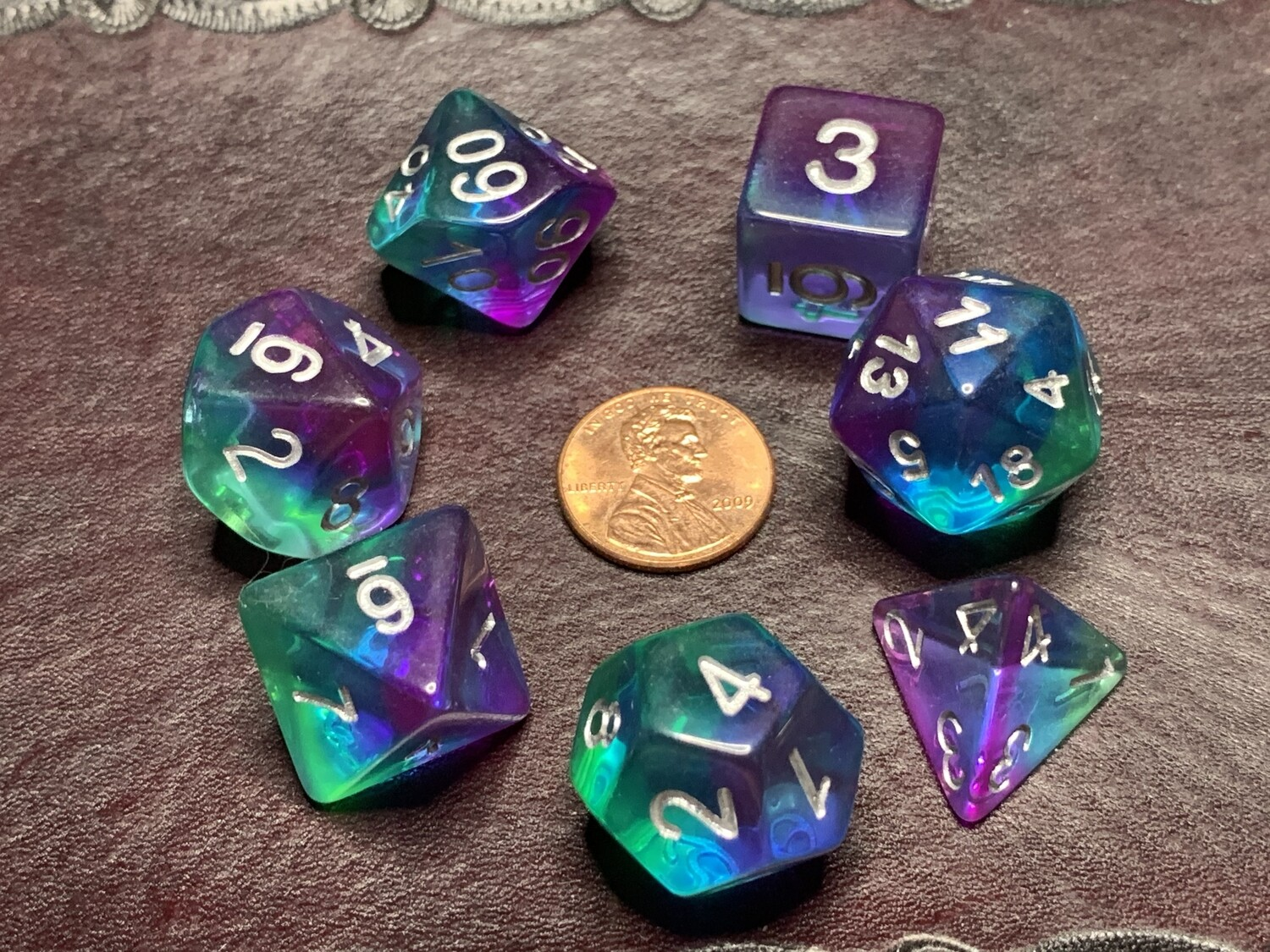 Standard Polyhedral 7 Die Dice Set - Transparent Tri-layer Green Blue Purple