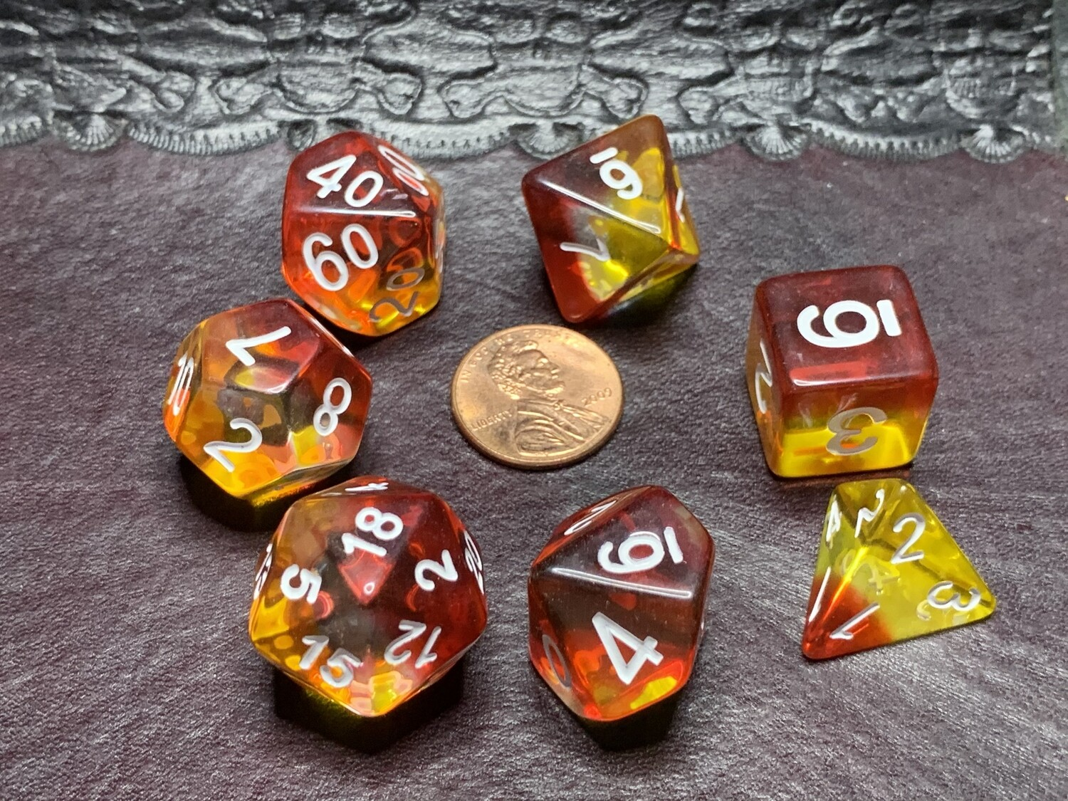 Standard Polyhedral 7 Die Dice Set - Transparent Two-layer Red & Yellow with White