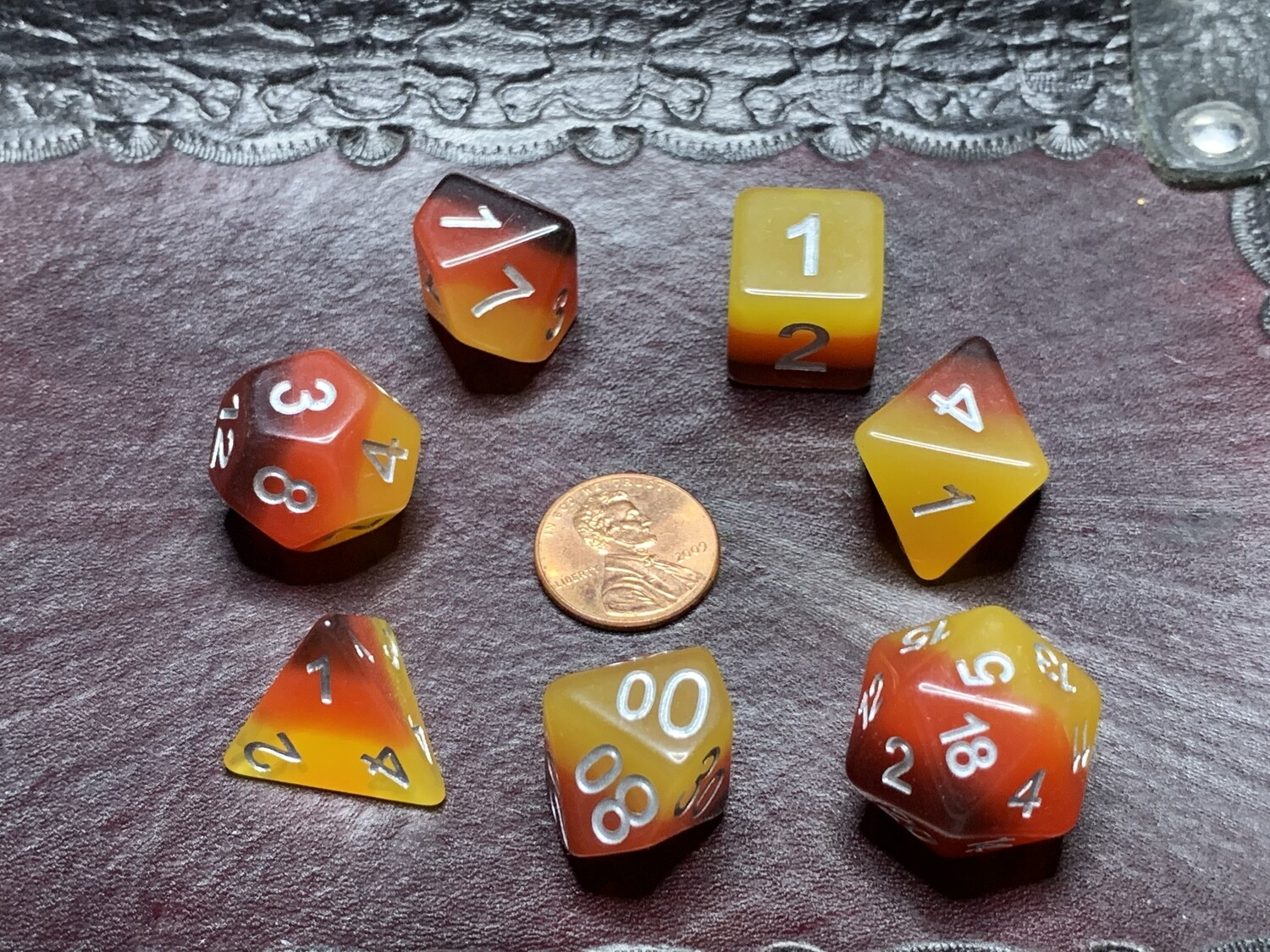 Standard Polyhedral 7 Die Dice Set - Opaque Tri-layer Brown Red Orange w White
