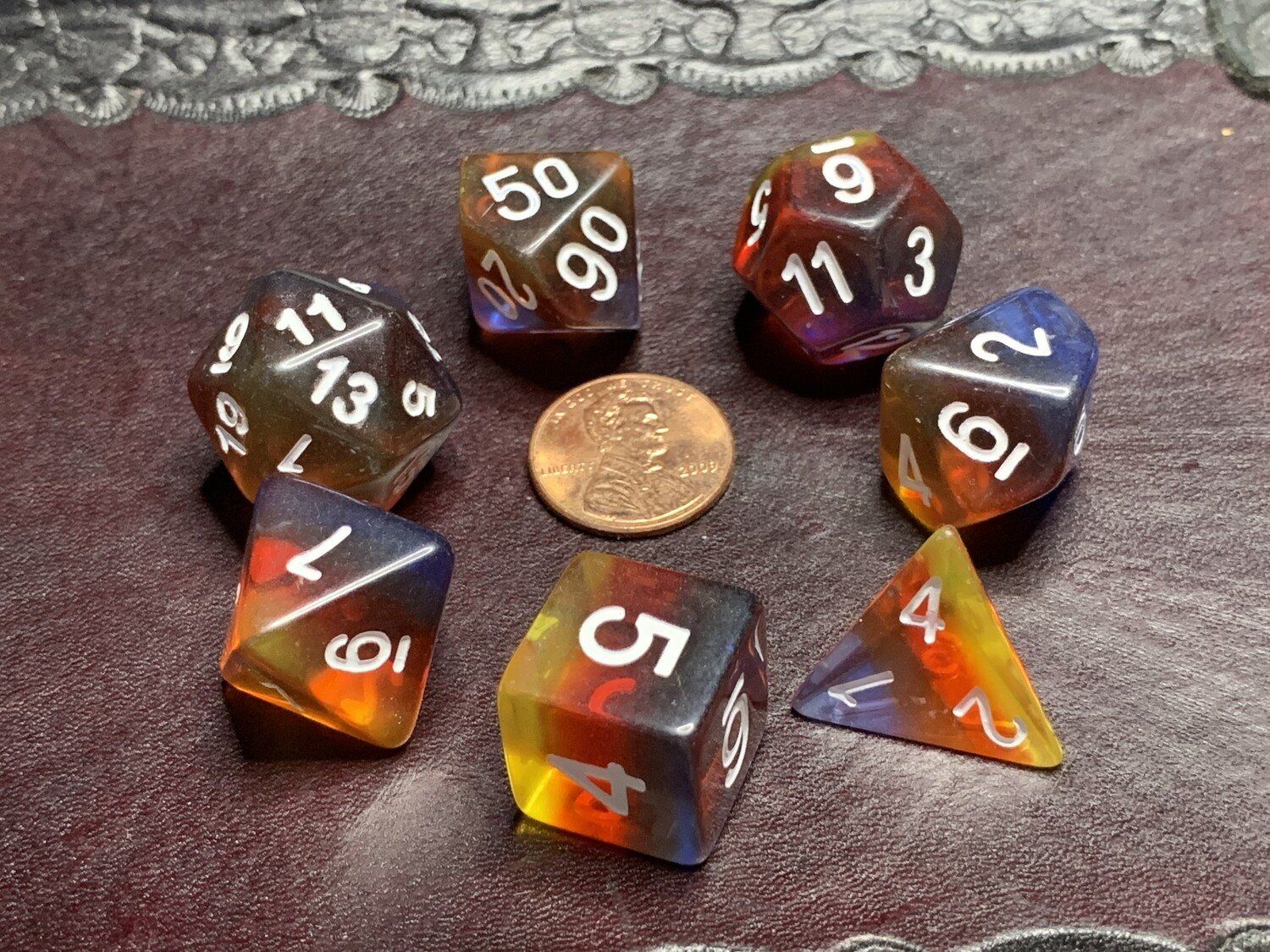 Standard Polyhedral 7 Die Dice Set - Transparent Tri-layer Red Yellow Dark Blue