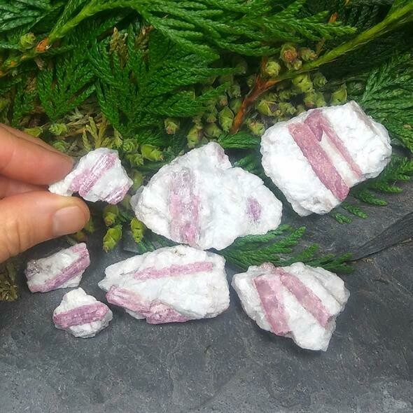 "One 2"" x 2"" Pink Tourmaline in matrix stone"