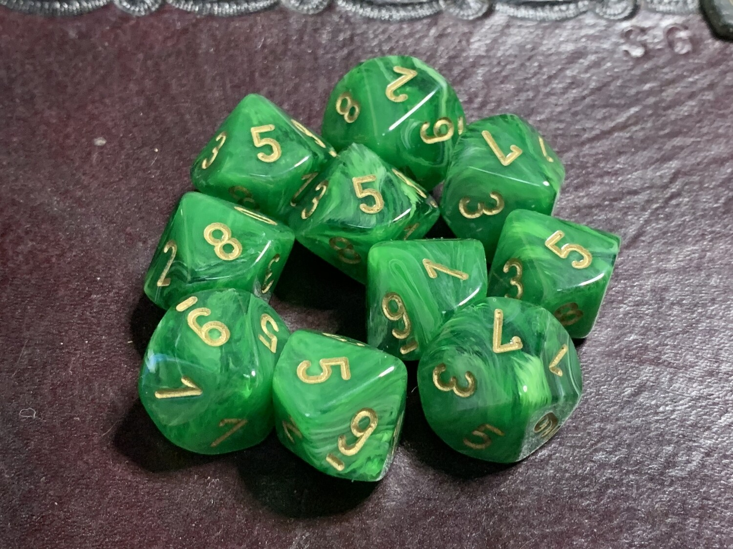 Chessex Dice 10d10 Vortex Green with Gold Tabletop Roleplay Gaming RPG