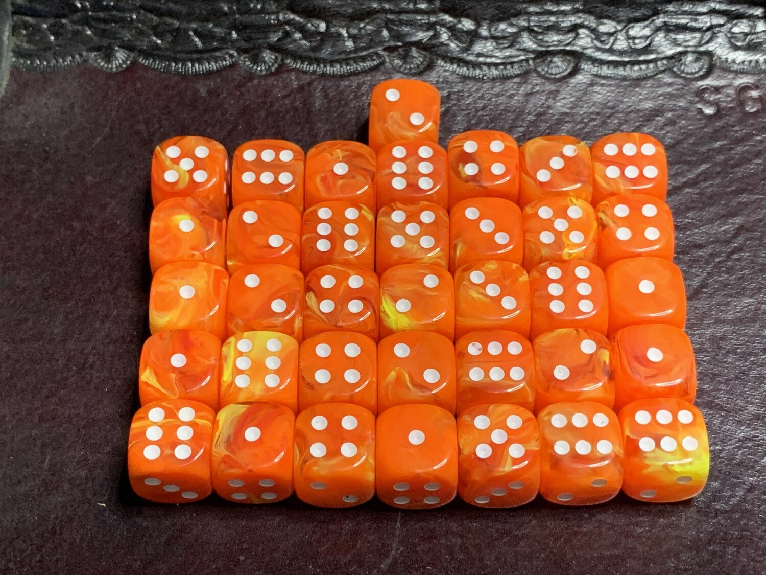 12mm Set of 36 D6 Dice - Chessex Vortex Solar with White Tabletop RPG Gaming