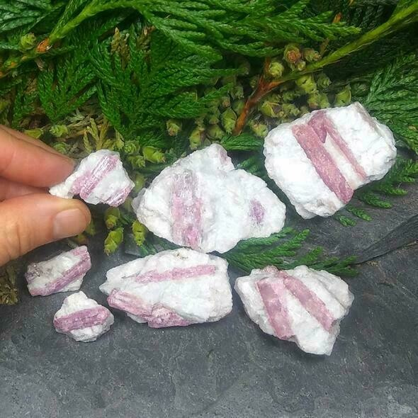 "One  2"" x 2"" Pink Tourmaline in matrix stone"