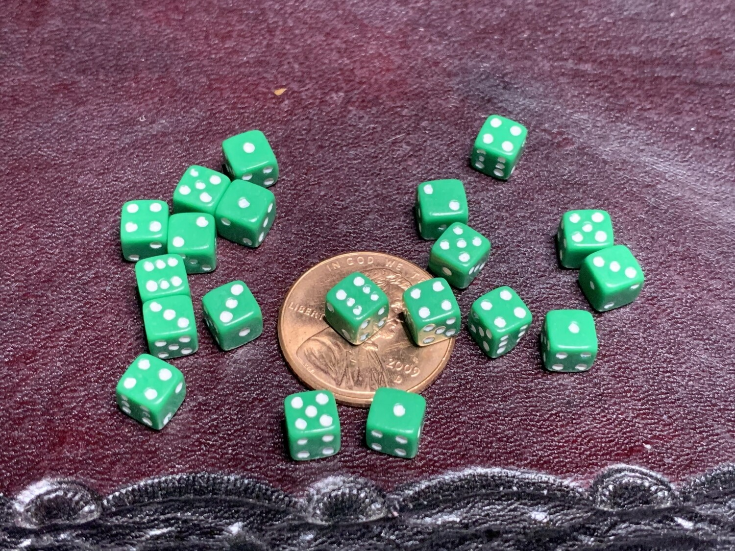 Twenty 5MM Opaque Green with White Color Gaming Dice RPG Tabletop Gaming CCG Tokens