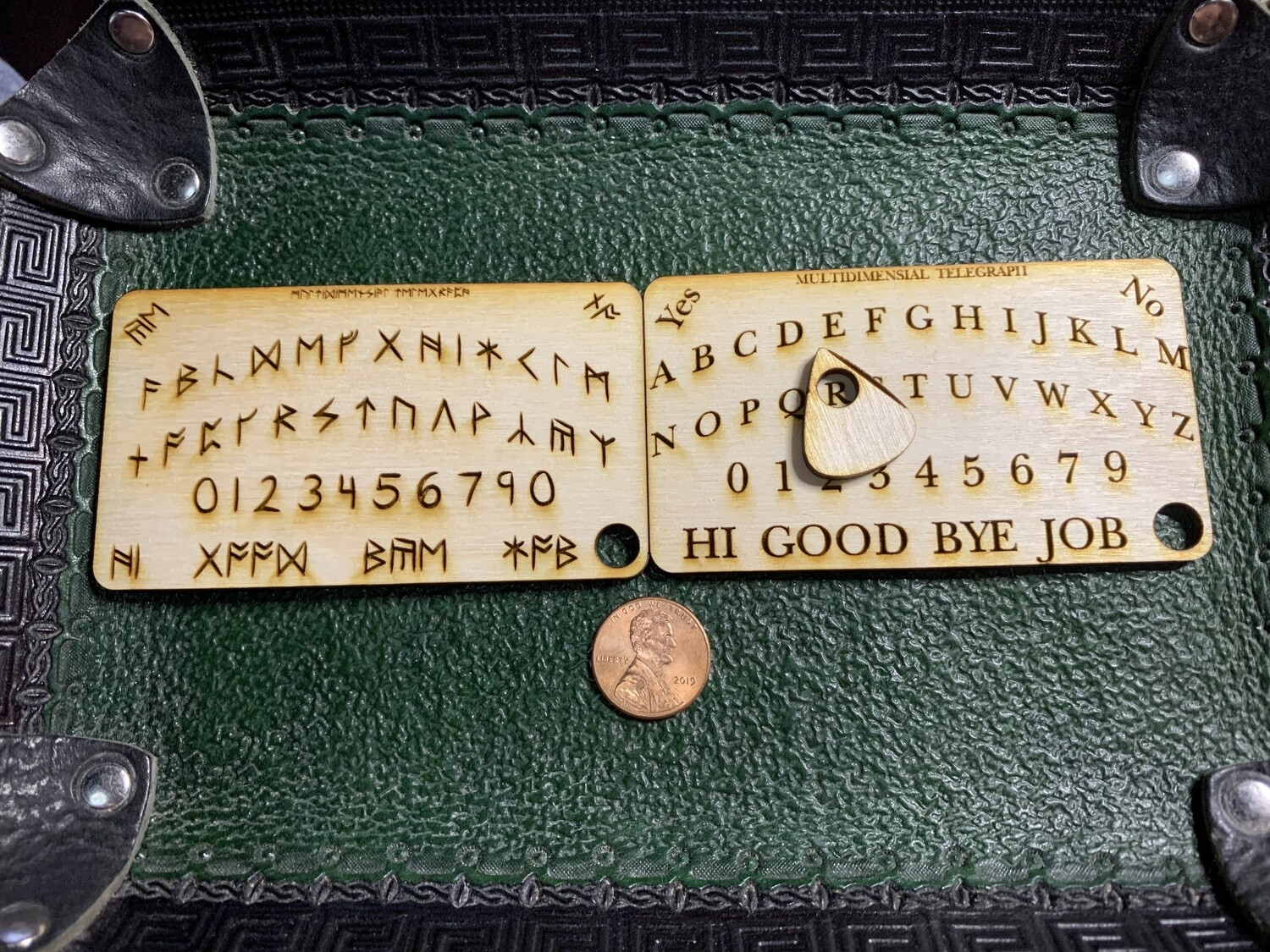 Keychain Business Card Ouija Board Laser Engraved English or Britannia Runic