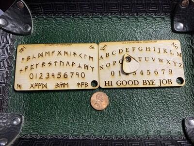 Keychain Business Card Ouija Board Laser Engraved English or Britannia Runic