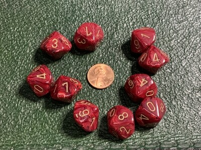 Chessex Dice 10d10 Vortex Burgundy with Gold Tabletop Roleplay Gaming RPG