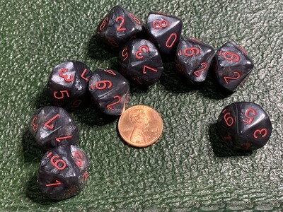 Chessex Dice 10d10 Velvet Black with Red Tabletop Roleplay Gaming RPG