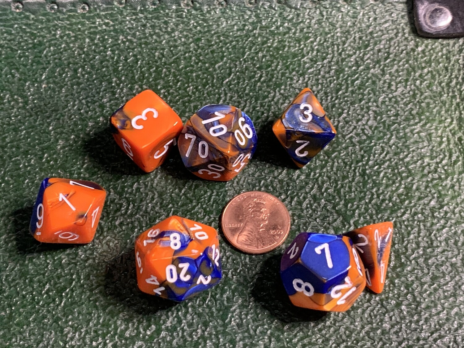 7 Die Dice Polyhedral Set - Chessex Gemini Blue and Orange with White Tabletop RPG