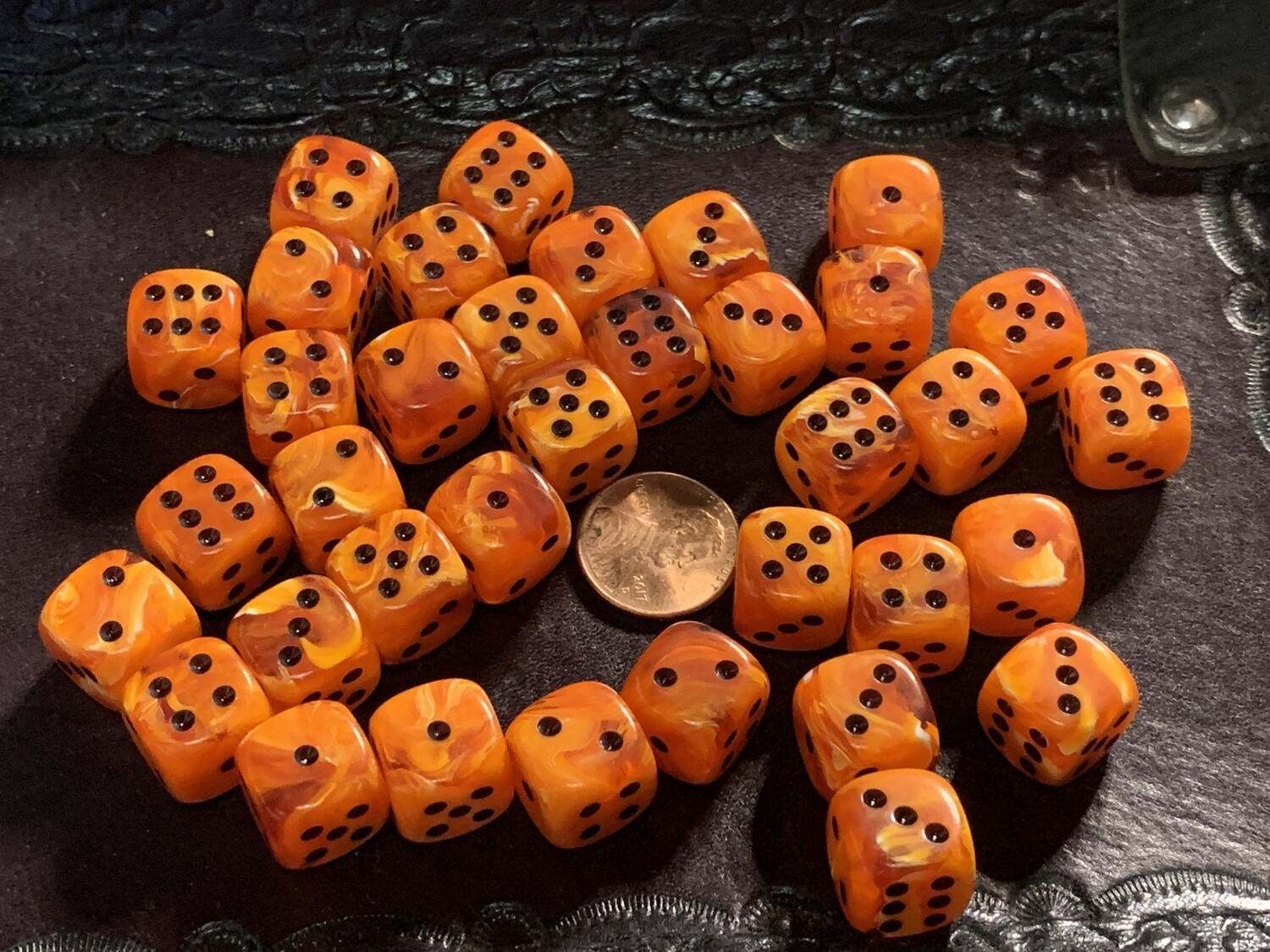 12mm Set of 36 D6 Dice - Chessex Vortex Orange with Black RPG Tabletop Gaming