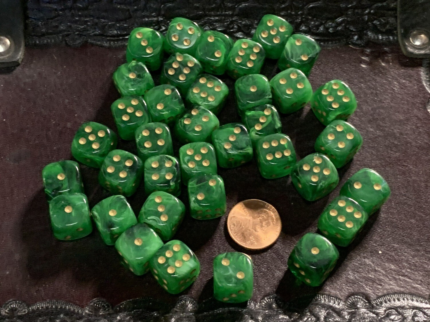 12mm Set of 36 D6 Dice - Chessex Vortex Green with Gold RPG Tabletop Gaming