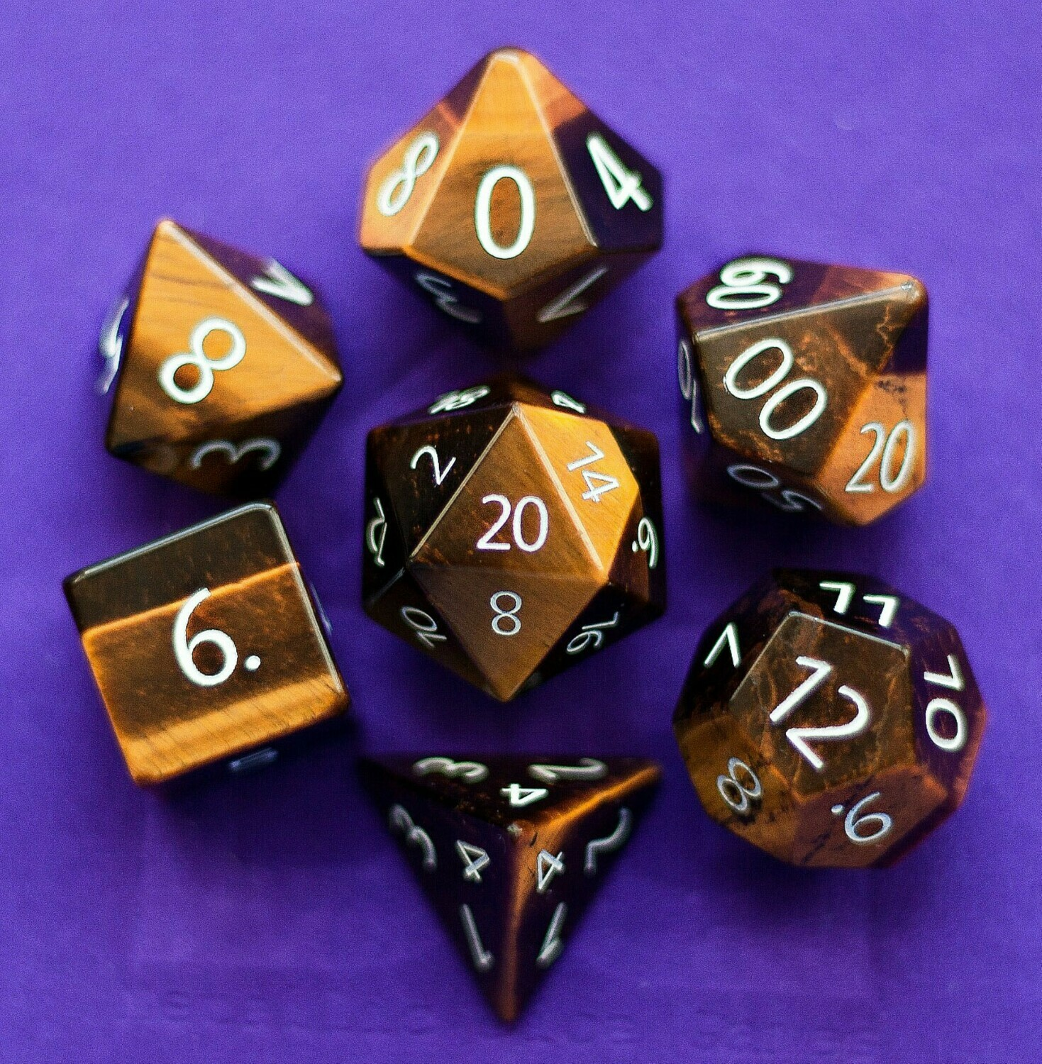 Engraved Tiger's Eye: Full-Sized 16mm Polyhedral Dice Set