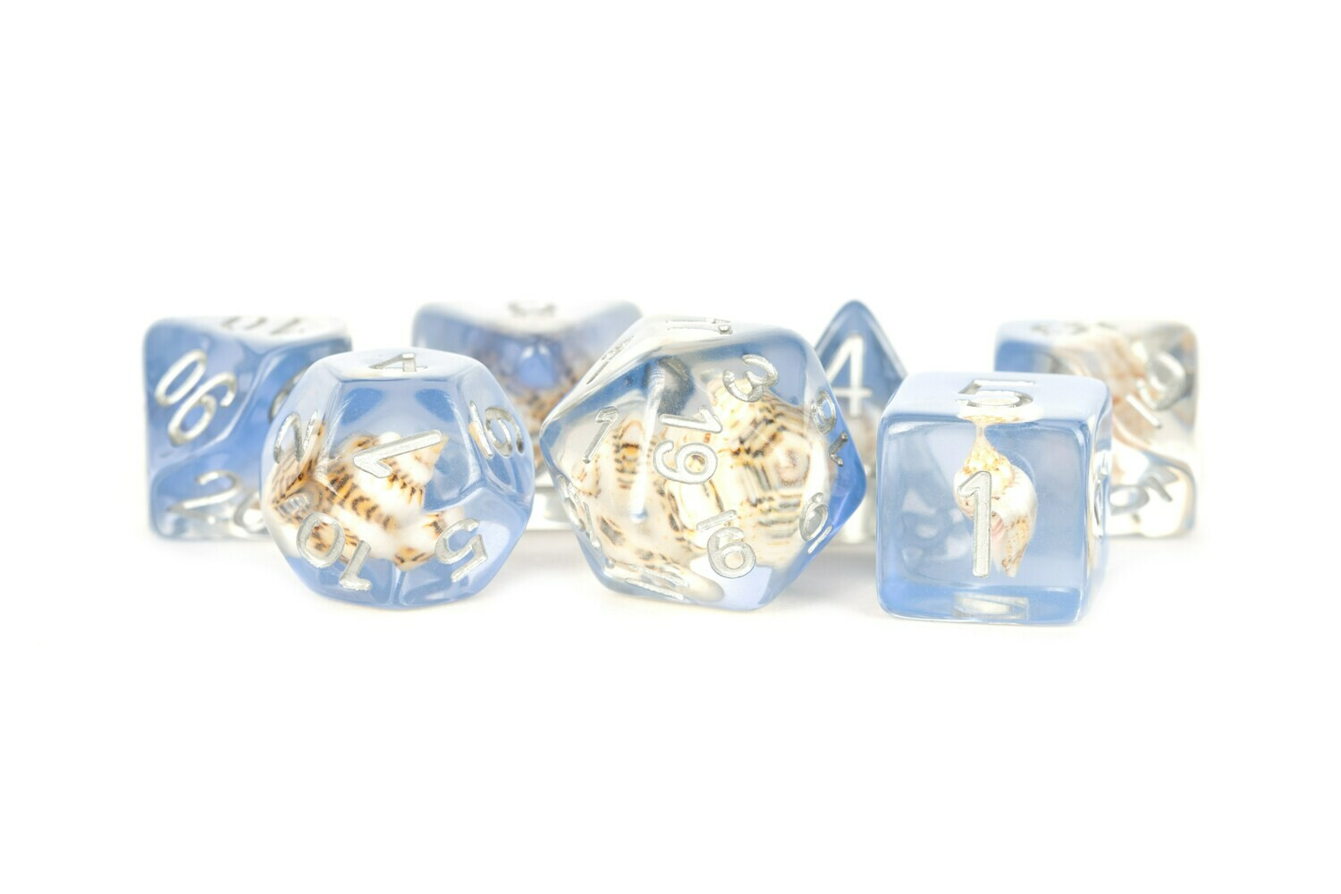 Sea Conch 16mm Resin Poly Dice Set Tabletop RPG CCG Gaming Roleplay