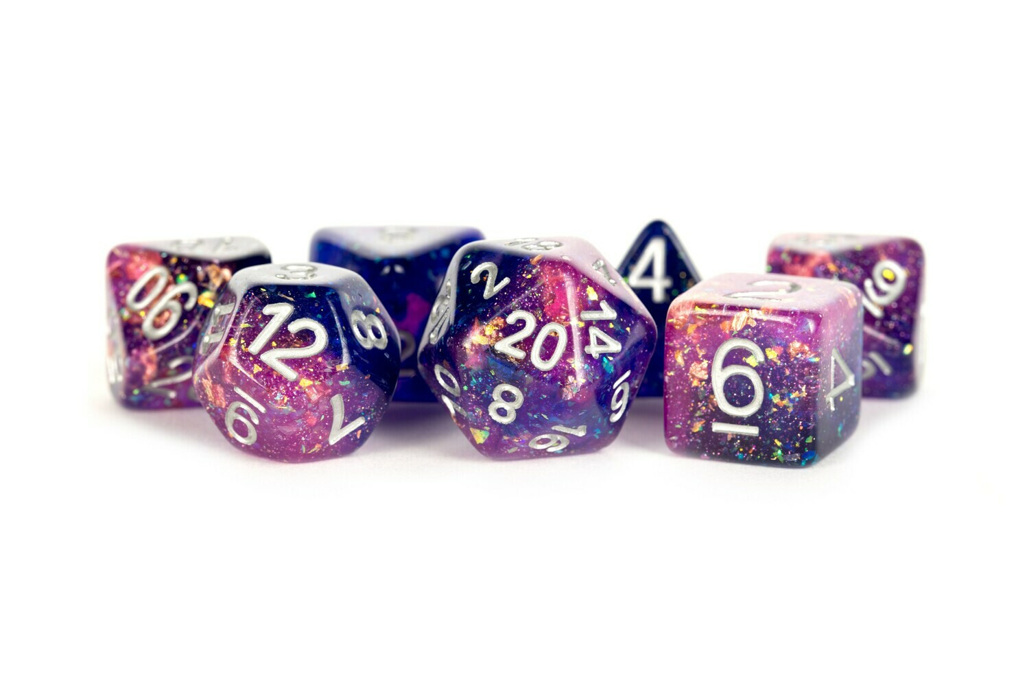 Eternal Purple-Blue 16mm Resin Poly Dice Set Tabletop RPG CCG Gaming