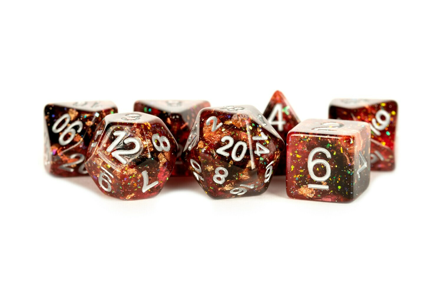 Eternal Fire 16mm Resin Poly Dice Set Tabletop RPG CCG Gaming Roleplay