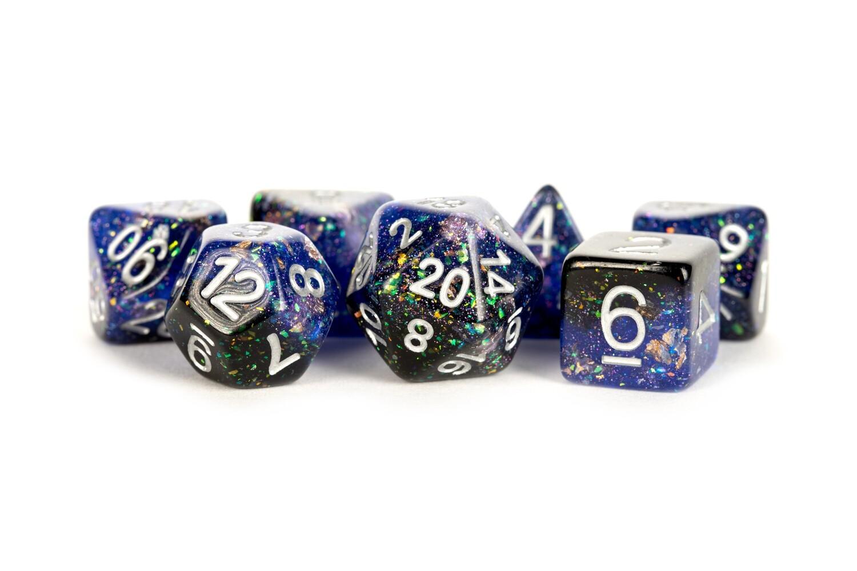 Eternal Blue-Black 16mm Resin Poly Dice Set Tabletop RPG CCG Gaming Roleplay