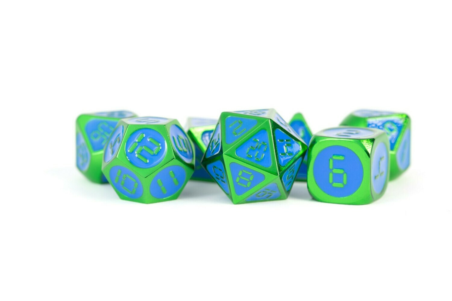 Metal Green with Blue Enamel 16mm Polyhedral Dice Set (Or Individually) RPG Tabletop Gaming