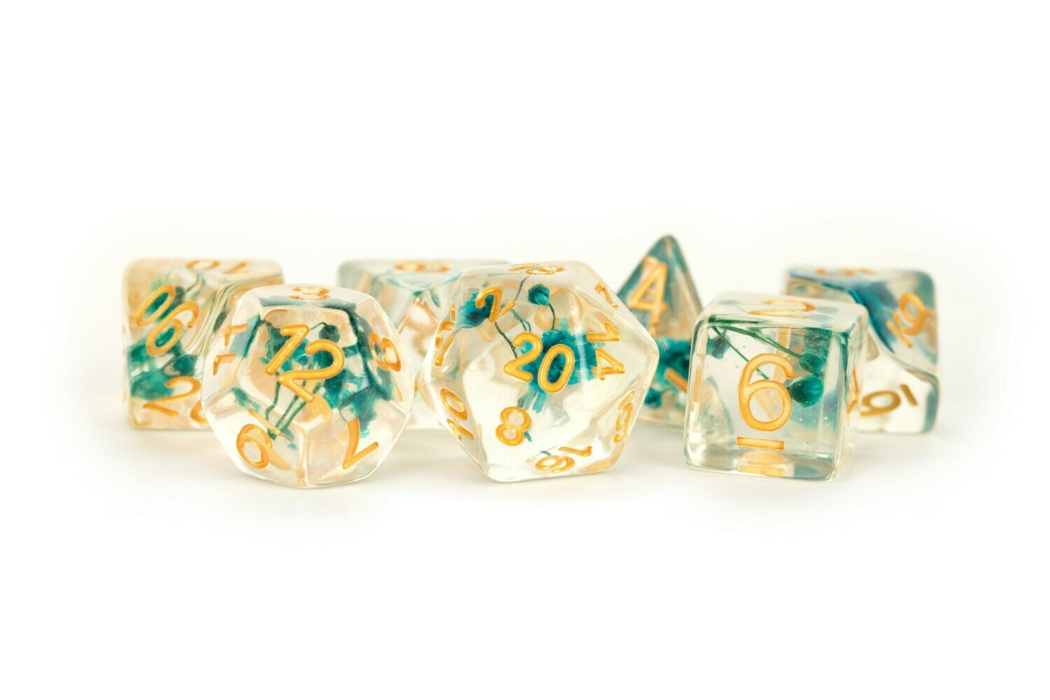 Baby's Breath Green Flowers Clear w/ Gold Numbers 16mm Resin Poly Dice Set Tabletop RPG CCG Gaming Roleplay