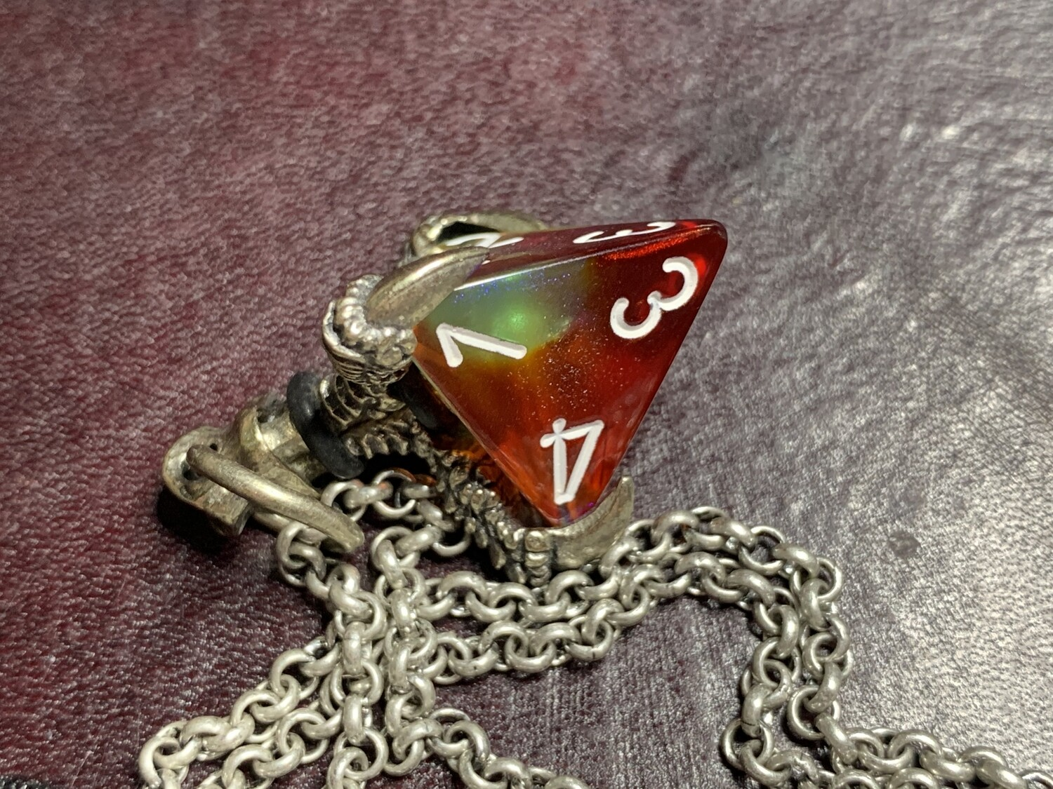 Chessex 16mm Dice Pendant Old Silver with Butterfly D4 Die Tabletop RPG Gaming
