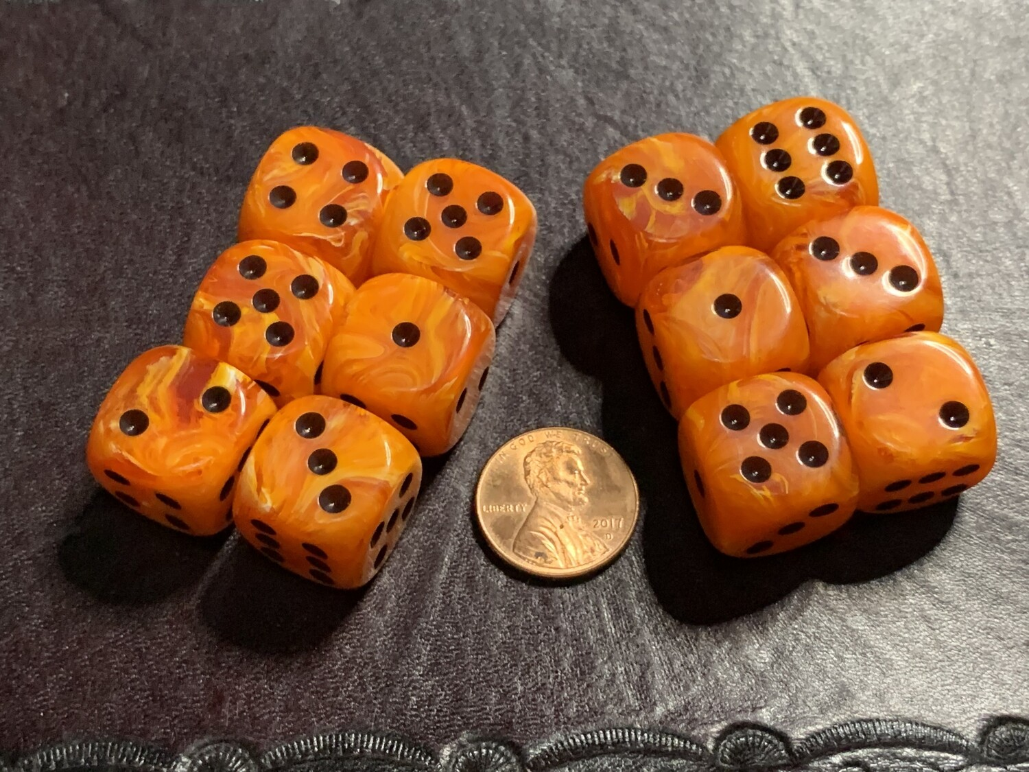 Chessex 16mm 12D6 Block - Vortex Orange with Black Dice Set Tabletop Gaming RPG
