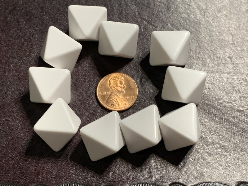 10D8 (10 Eight Sided) 16mm Blank White Dice RPG Gaming Tabletop Roleplay