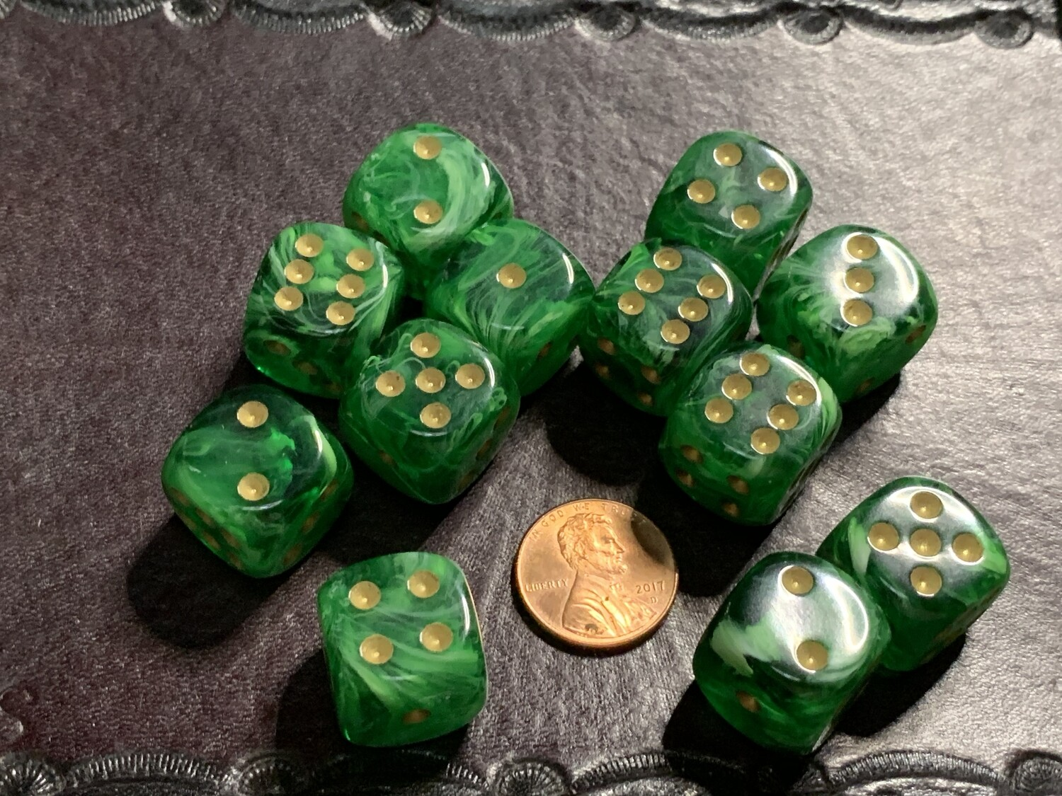 Chessex 16mm 12D6 Block - Vortex Green with Gold Dice Set Tabletop Gaming RPG