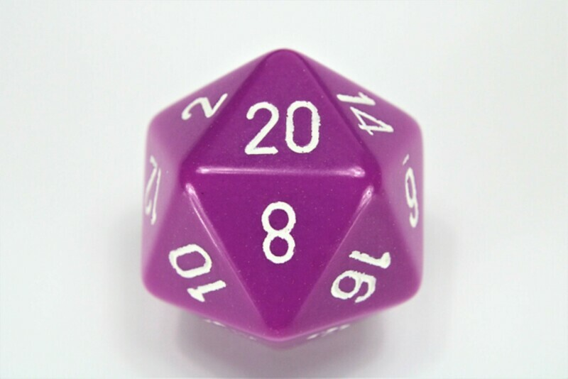 Jumbo 34mm D20 Purple with White Extra Large Counter Dice RPG Tabletop