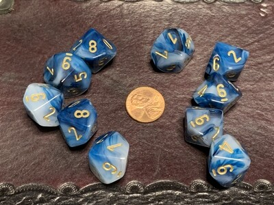 Chessex Dice 10d10 Phantom Teal with Gold Tabletop Roleplay Gaming RPG
