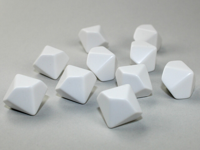 10D10 (10 Ten Sided) 16mm Blank White Dice RPG Gaming Tabletop Roleplay