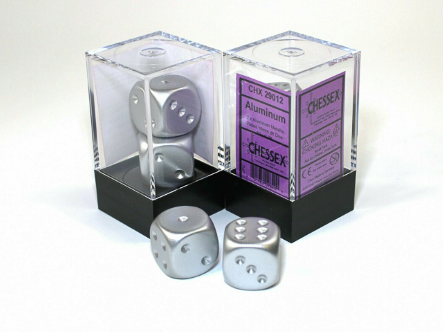 2D6 (2 Six Sided) (Pair) 16mm Aluminum Metallic Plated Dice RPG Gaming Tabletop Roleplay
