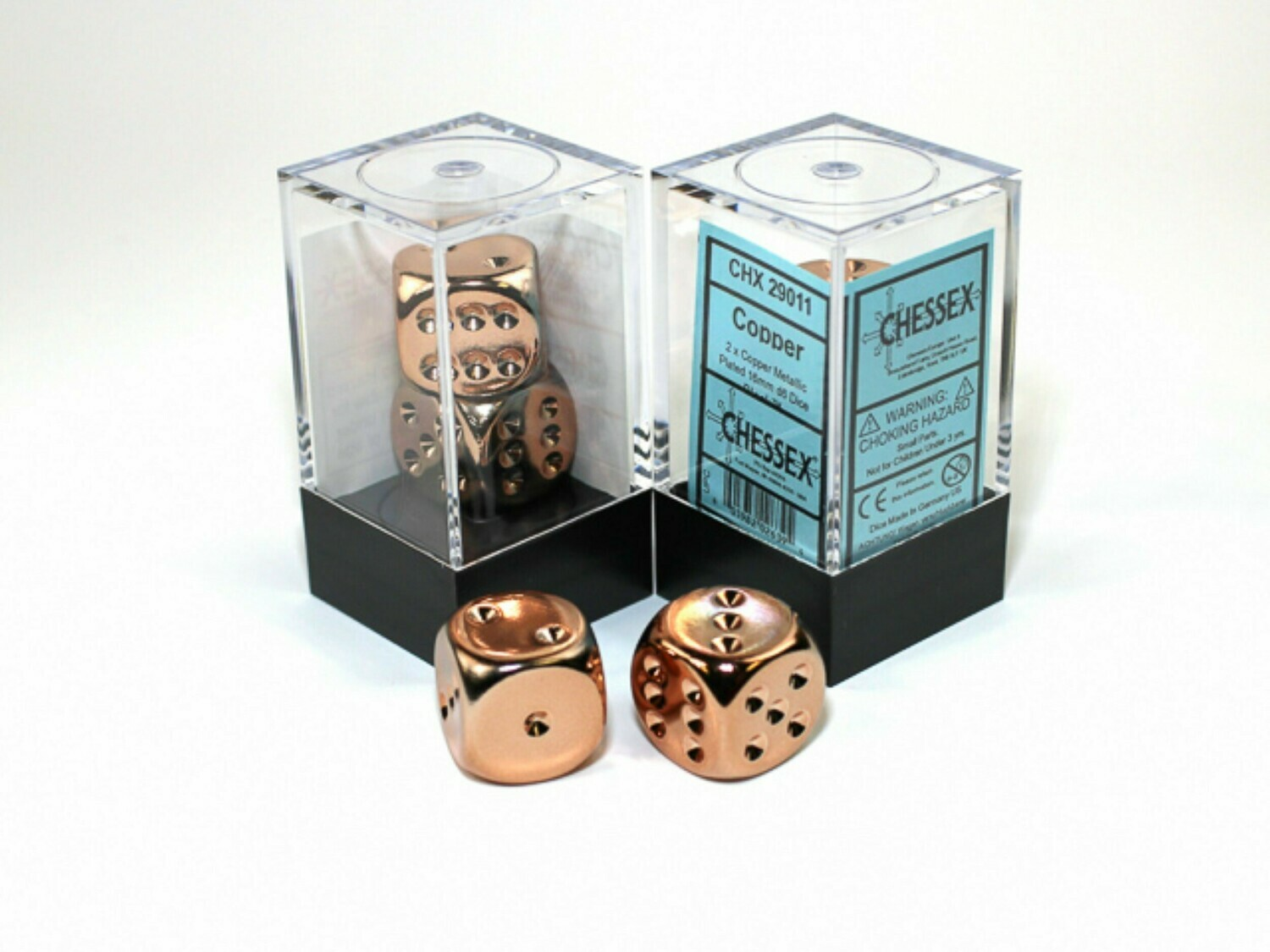 2D6 (2 Six Sided) (Pair) 16mm Copper Metallic Plated Dice RPG Gaming Tabletop Roleplay